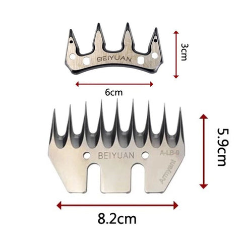 BEIYUAN 9T Goat Sheep Shearing Clipper Comb Cutter Blade 9Tooth For Sheep Wool Farm Animal Livestock Cattle Sheep Equipment (Silver M)