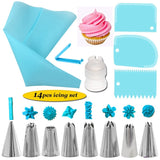 14Pcs/Set Reusable Icing Piping Nozzles Set Pastry Bag Scraper Flower Cream Tips Converter Baking Cup DIY Cake Decorating Tools