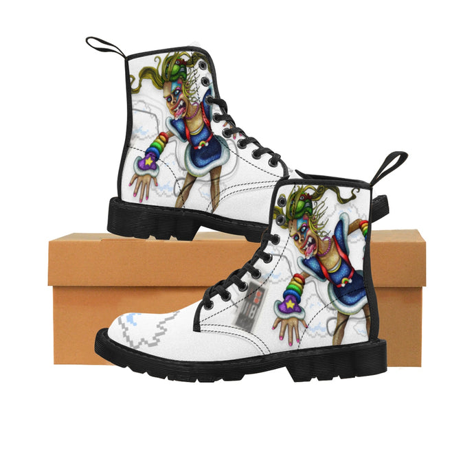 Men's Martin boots featuring a vivid illustration of an 80's kid- a girl in a Rainbow Brite costume throwing an NES controller at her game