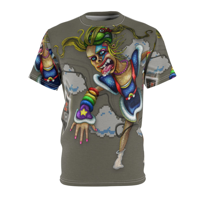 Ballad of an 80's Kid Unisex All Over Print Cut & Sew Tee, Rainbow Brite and NES