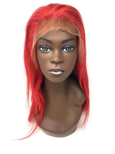 Diva Glam Hot Like Fire Lace Frontal Wig Red, 150% Density Straight Hair