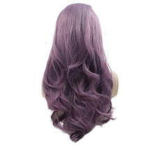 "Load image into Gallery viewer, 22"" Purple Lace Front Wavy Mix Blend Wig"