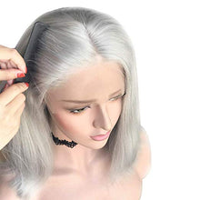 Load image into Gallery viewer, Grey Lace Front Pre-Plucked Glueless Human Hair Bob Wig