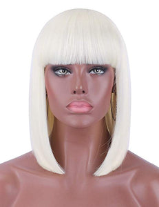 Platinum Blonde Blunt Cut Straight Bob Wig w/Bangs