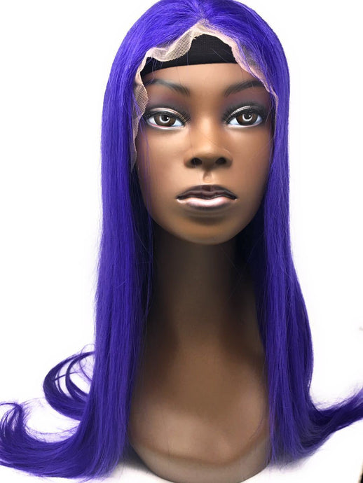 Diva Glam Purple Rain Lace Frontal Wig Blue/Purple, 150% Density Straight Hair