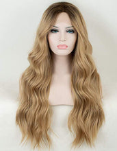 Load image into Gallery viewer, Ash Blonde Ombre Wavy Middle Part Human Blend Wig