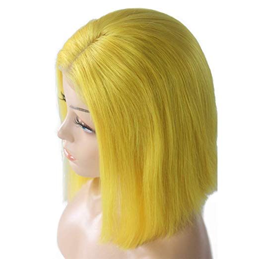 Yellow Lace Front Pre-Plucked Glueless Human Hair Bob Wig