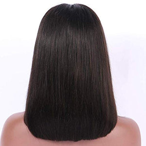 Natural Black Lace Front Pre-Plucked Glueless Human Hair Bob Wig