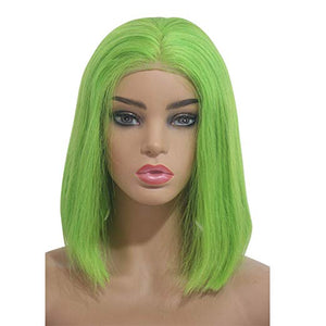 Lime Green Lace Front Pre-Plucked Glueless Human Hair Bob Wig