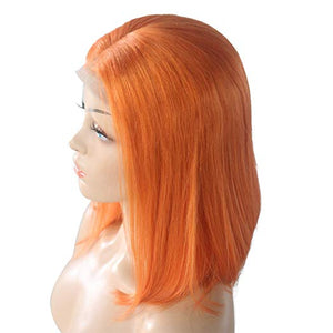 Orange Lace Front Pre-Plucked Glueless Human Hair Bob Wig