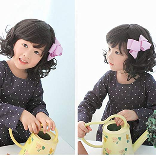 Children's Human Blend Black Curly Wig w/Bangs