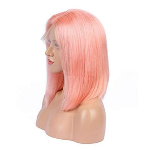 Pink Lace Front Pre-Plucked Glueless Human Hair Bob Wig