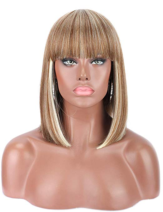 Mixed Blonde Blunt Cut Straight Bob Wig w/Bangs