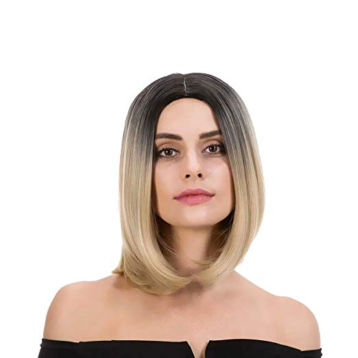 Black & Light Blonde Ombre Short Bob Wig 12