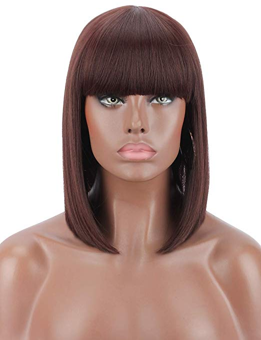 Black Cherry 99J Blunt Cut Straight Bob Wig w/Bangs