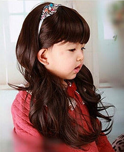 Children's Brown Curly Wig w/Blunt Cut Bang