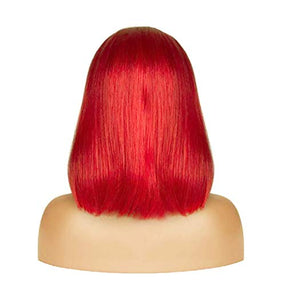 Red Lace Front Pre-Plucked Glueless Human Hair Bob Wig