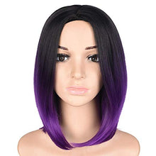 "Load image into Gallery viewer, Purple Ombre Short Bob Wig 12"" Synthetic Wig"