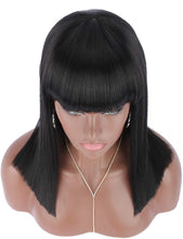 "Load image into Gallery viewer, 18"" Black Blunt Cut Straight Bob Wig w/Bangs"
