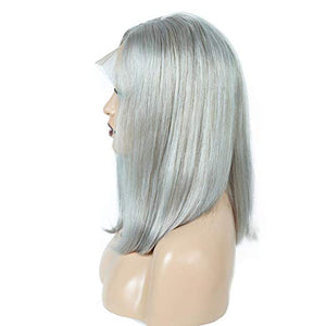 Grey Lace Front Pre-Plucked Glueless Human Hair Bob Wig