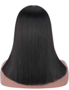 "18"" Black Blunt Cut Straight Bob Wig w/Bangs"