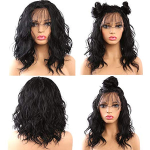 "16"" Natural Wave Glueless Lace Front Mix Blend Bob Wig"