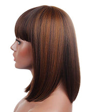 Load image into Gallery viewer, Brown Blunt Cut Straight Bob Wig w/Bangs