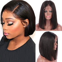 Load image into Gallery viewer, Natural Black Lace Front Pre-Plucked Glueless Human Hair Bob Wig