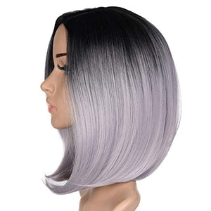 "Black & Grey Ombre Short Bob Wig 12"" Synthetic Wig"