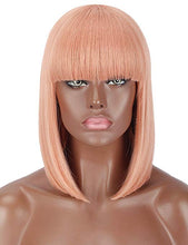 Load image into Gallery viewer, Pink Blunt Cut Straight Bob Wig w/Bangs