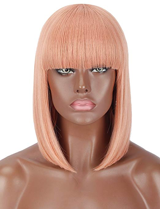 Pink Blunt Cut Straight Bob Wig w/Bangs