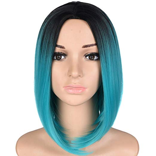 Black & Teal Ombre Short Bob Wig 12