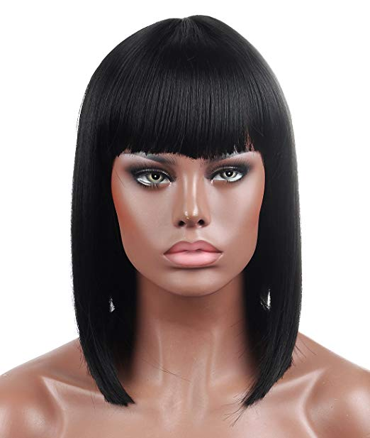 1B Blunt Cut Straight Bob Wig w/Bangs