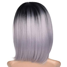 "Load image into Gallery viewer, Black & Grey Ombre Short Bob Wig 12"" Synthetic Wig"