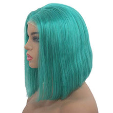 Load image into Gallery viewer, Teal Lace Front Pre-Plucked Glueless Human Hair Bob Wig