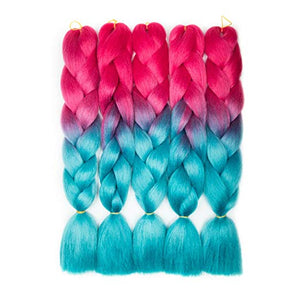 "(24"") Fuchsia & Teal  - 5 Piece Jumbo Braiding Hair"