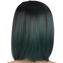 "Load image into Gallery viewer, Black & Green Ombre Short Bob Wig 12"" Synthetic Wig"
