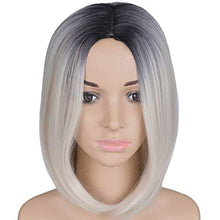"Load image into Gallery viewer, Black & Blonde Ombre Short Bob Wig 12"" Synthetic Wig"
