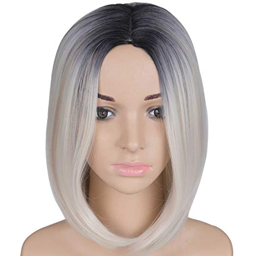 Black & Blonde Ombre Short Bob Wig 12