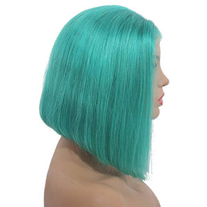 Teal Lace Front Pre-Plucked Glueless Human Hair Bob Wig