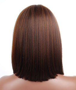 Brown Blunt Cut Straight Bob Wig w/Bangs