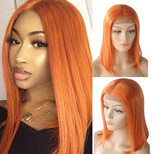 Load image into Gallery viewer, Orange Lace Front Pre-Plucked Glueless Human Hair Bob Wig