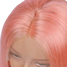 Load image into Gallery viewer, Pink Lace Front Pre-Plucked Glueless Human Hair Bob Wig