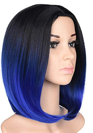 Black & Royal Blue Ombre Short Bob Wig 12