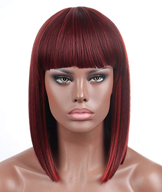 Mix Bordeaux Blunt Cut Straight Bob Wig w/Bangs
