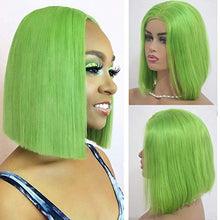 Load image into Gallery viewer, Lime Green Lace Front Pre-Plucked Glueless Human Hair Bob Wig
