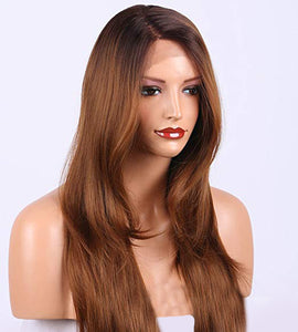 "20"" #4/30 Straight Ombre L-Part Mix Blend Lace Front Wig"