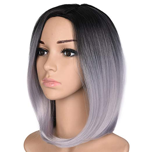 Black & Grey Ombre Short Bob Wig 12