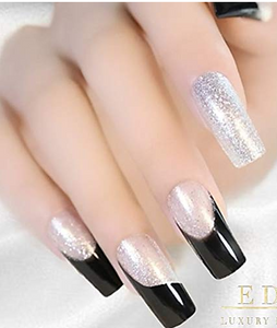 Press On Full Cover Gel Glitter Artificial Tips in Black, White, & Silver
