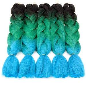 "(24"") 1B/Green/Turquoise, 5pc Jumbo Braiding Hair"